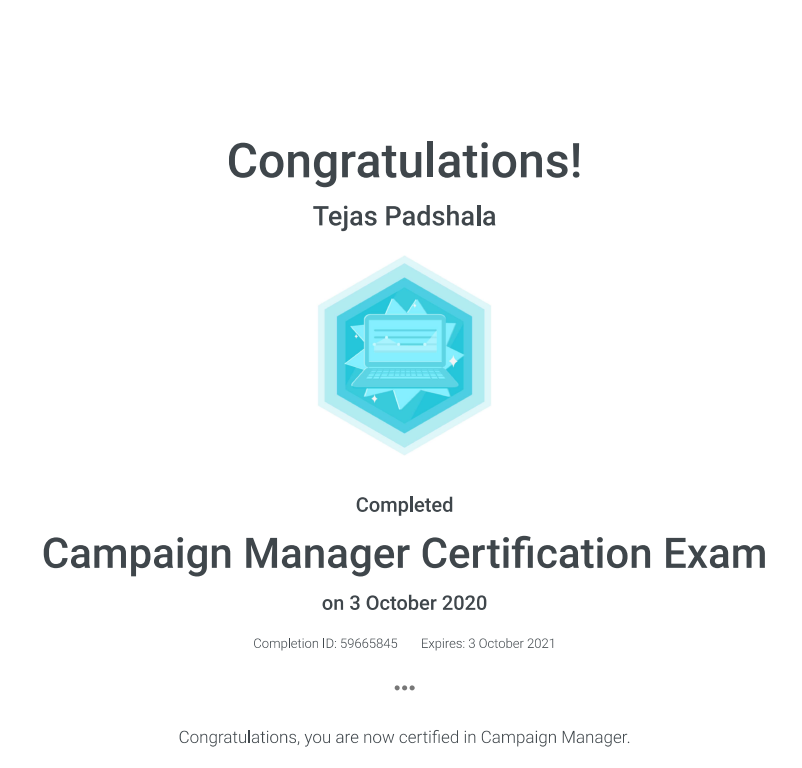 Campaign manager certification